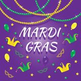 Set of Mardi Gras design elements. In tradition colors Royalty Free Stock Images