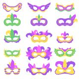 Set with mardi gras mask with color feather stock photography