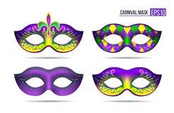 Set of Mardi gras masks vector illustration