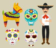 Set mariachi with donkey and dead masks vector illustration