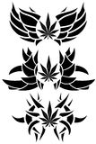 Set of Marijuana leaf tattoos isolated Stock Image