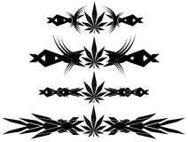 Set of Marijuana nice leaf tattoos  Stock Image