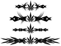Set of Marijuana nice leaf tattoos  Stock Image