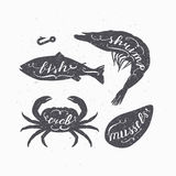Set of marine animals silhouettes  with lettering signs. Fish, crab, shrimp and mussels. Seafood shop. Set of marine animals silhouettes  with handwritten signs Stock Image