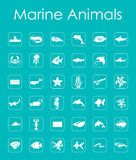 Set of marine animals simple icons Stock Image