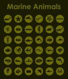 Set of marine animals simple icons Royalty Free Stock Photo