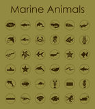 Set of marine animals simple icons Stock Photography
