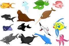 Set of marine animals vector Royalty Free Stock Photo