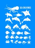 Set of marine animals. Set of vector marine animals and fish silhouettes Stock Photography