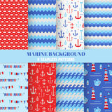 Set of Marine Backgrounds Stock Photos