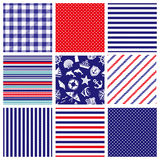 Marine background. Set of marine backgrounds; stripe, dots and check Stock Images