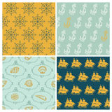 Set of Marine backgrounds Royalty Free Stock Photo