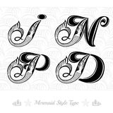 Set of marine capital letter with swiming mermaid - d, i, p, n Royalty Free Stock Images