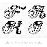 Set of marine capital letter with swiming mermaid - f, k, a, j Royalty Free Stock Photos