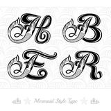 Set of marine capital letter with swiming mermaid - h, b, e, r Royalty Free Stock Images