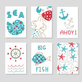 Set of marine cards templates for your design. Doodle sea vector illustrations, can be used for birthday cards, party invitations, posters Stock Image