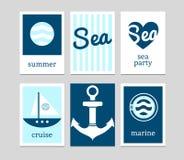 Set of marine cards Stock Photos