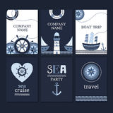 Set of marine cards Stock Image