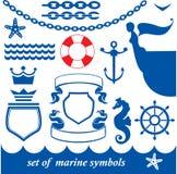 Set of marine elements Stock Photo