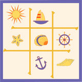 Set of marine elements. A rope deviding some marine icons and shells Royalty Free Stock Photo