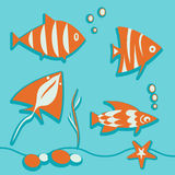 Set of marine elements fish, seaweed, bubbles, ray Royalty Free Stock Photos