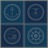Set of marine emblem , vector illustration Royalty Free Stock Photos
