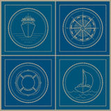 Set of marine emblem , vector illustration Stock Photos