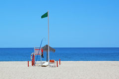 A set of marine equipment lifeguard at the beach. Stock Photography
