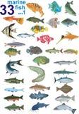 Set - 33 marine fish. Stock Photo