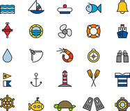 Set of marine icons. 25 colorful illustrations of marine related objects, white background Royalty Free Stock Images