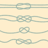 Set of marine knots. Reef, carrick bend, overhand, figure 8 Royalty Free Stock Images