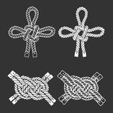 Set of marine  knots. Vector isolated  elements on a black backg Stock Photos