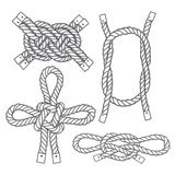 Set of marine  knots. Vector isolated  elements on a white backg Stock Photos