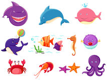 Set of marine life royalty free illustration
