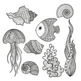 Set of marine life fish Stock Image