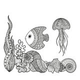 Set of marine life fish. Vector illustration set of marine life fish, shell snail algae and corral coloring for adults. Underwater life of a coloring book, page royalty free illustration