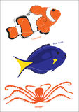 Set of 3 marine life illustrations Stock Image