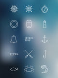 Set of marine linear icons on blurred background Royalty Free Stock Photography