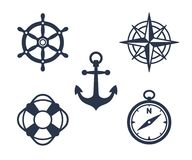 Set of marine, maritime or nautical icons Royalty Free Stock Images