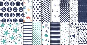 Set of marine and nautical backgrounds in navy blue and white colors Vector. Set of marine and nautical backgrounds in navy blue and white colors. Sea theme vector illustration