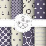 Set of marine and nautical backgrounds - sea theme patterns. Set of marine and nautical backgrounds - sea theme seamless patterns collection Stock Image