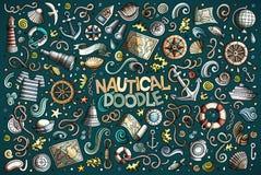 Set of marine, nautical objects and symbols Royalty Free Stock Image