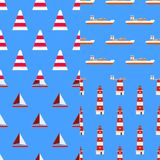 Set of marine nautical seamless patterns Good for textile fabric or paper print. Flat design. Illustration Stock Photography