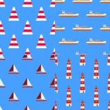 Set of marine nautical seamless patterns  Stock Photo