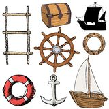 Set of marine objects Royalty Free Stock Images
