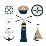 Set of marine objects. Wheel, captain cap, lighthouse, sailfish, compass, ship bell anchor royalty free illustration