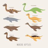 Set of Marine repitles dinosaurs Royalty Free Stock Photo