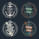Marine retro emblems royalty free illustration
