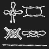 Set of marine rope, knots. Vector isolated  elements on a black Royalty Free Stock Images