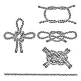 Set of marine rope, knots. Vector isolated  elements on a white Stock Images